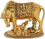 Radhika Gift Items Kamdhenu Cow with Calf and Krishna Idol Showpiece in Brass Like Metal for Home Décor and Decorative Gift Gold Big @17cm (500 Grams, 17x12x12 cm)