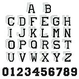 KLYNGTSK 62 PCS Parches de Planchar de Letras y Números Bordados Letras Termoadhesivas Decorativa DIY Parches Alfabeto de Tela para Zapatos Sombrero Ropa Bolsa (Negro y Blanco)