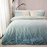 David's Home 100% Cotton Duvet Cover Set Queen Size, Comforter Cover with Spray Pattern, Farmhouse Style Printed Bedding Set, 3 PCS, Soft and Breathable, 90x90 Inches, Ombre Turquoise