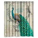 "Stylish Living Elegant Vintage Peacock Art Animal Art Bathroom Shower Curtain Liner for Home with Hook 60"" x 72"""