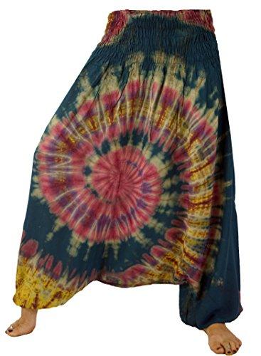 GURU SHOP Batik Afghani Hose, Haremshose, Pluderhose Aladinhose, Damen, Blau, Synthetisch, Size:38, Pluderhosen & Aladinhosen Alternative Bekleidung