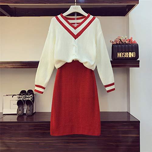 zysymx Prendas de Punto Conjunto de 2 Piezas Traje de Mujer Trajes de otoño Nuevo Suéter con Cuello en V Suelto + Falda lápiz Niñas Faldas Ajustadas para Damas Conjunto en Grupo Rojo M
