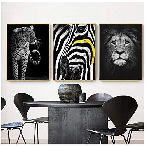 Jwqing Lámina Impresa en Blanco y Negro Animal Salvaje Lienzo Pintura LeónLeopardo Cebra Arte de la Pared Imagen para la Pared de la Sala (40x60cmx3 sin Marco)