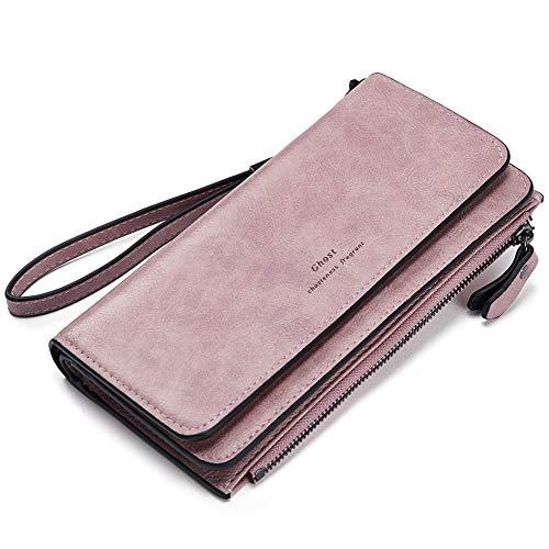 Geldbörse Damen Ölwachs Leder Lang Clutch Portemonnaie Frauen viele Kartenfächer Geldbeutel rosa
