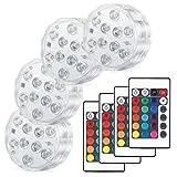 Kohree LED潜水ライト 4点セット RGB リモコン付 電池式 IP68防水 バスライト 水槽照明 イルミネーション お風呂 3年安心サービス