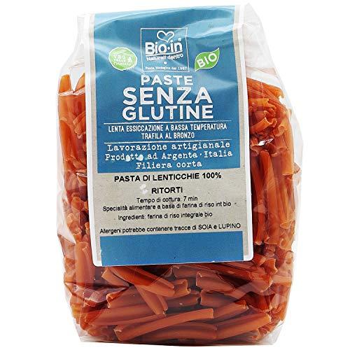 Oltresole - Pasta di Lenticchie Rosse Biologica Italiana, gluten free, formato Ritorti 350 g - pasta proteica ai legumi con farina 100% di lenticchie rosse da agricoltura BIO italiana, senza glutine