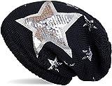 styleBREAKER warme Feinstrick Beanie Mütze mit All Over Vintage Stern Print, Pailletten Stern und sehr weichem Fleece Innenfutter, Unisex 04024091, Farbe:Midnight-Blue/Dunkelblau