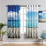 Pcglvie Colección de cortinas para dormitorio, cortinas de 213,4 cm de largo para mantener un buen sueño, turquesa, blanco y marrón, 52 x 84 pulgadas