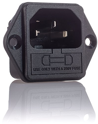 4X Hifi Lab inbouw-stekker inbouw-bus C-14 audio koude apparaten aansluiting inbouw koppeling stekker incl. 6A zekering 4 stuks