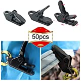 RUNCCI-YUN 50 Pcs Clip De Tienda Abrazadera Plástico Toldos Tarp Clips Apretar para Actividades Al Aire Libre Herramienta Abrazadera De Apriete para Tienda De Campaña