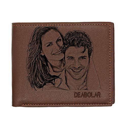 Aolun Foto Brieftasche Herren,Graviert Leder Brieftasche,Brieftasche Personalisiert für Vatertagsgeschenk,Freund, Ehemann, Vater, Sohn