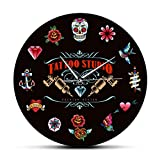 gongyu Tattoo Studio Premium Design Reloj de Pared Moderno Negro sin tictac Estilo Vintage Hipster Hombres Salón Estudio Tatuador Artista Regalo