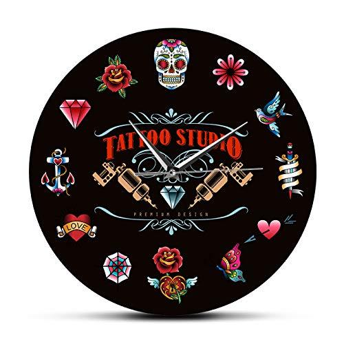 Reloj de pared Tatuaje Estudio Diseño Premium Negro Moderno Reloj de Pared No ticking Estilo Vintage Hipster Hombres Salón Estudio Tatuador Artista Regalo Oficina/Hogar/Escuela Decoración Relojes