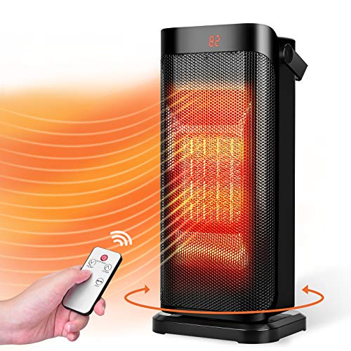 Trustech Space Heater - Portable Electric Heater with Remote ocillating ceramic Heater with Thermostat, 3 Modes 12H Timer, Overheat & Tip-over Protection, low wattage heater for garage bedroom office