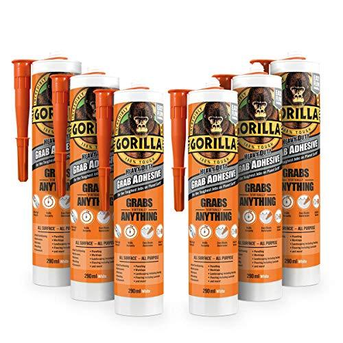 Gorilla Heavy Duty Grab Adhesive White 290ml (Pack of 6)