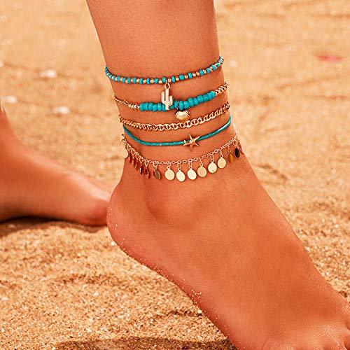 U/N Anklet Bracelets for Women Shell Anklets Set Summer Beach Foot Jewelry-4