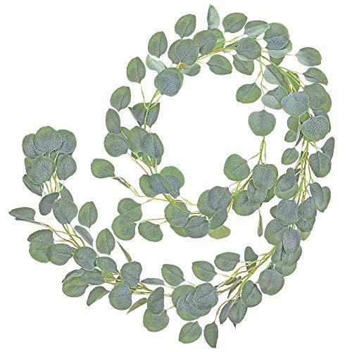Bluelves Künstliche Eukalyptus Girlande, Pflanze Deko Blätter Girlande, Eukalyptusblätter Kranz Dekoration 1 Stück für Hochzeit Garten Büro Weihnachts Wand Haus