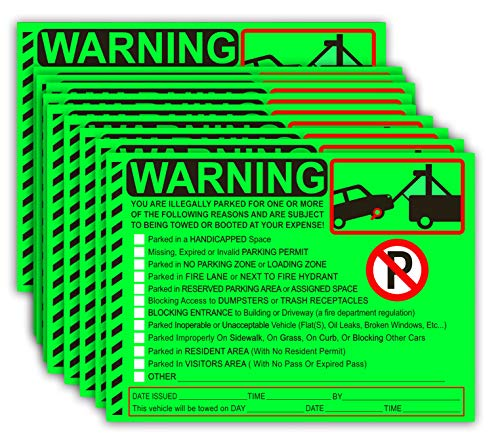 Parking Violation Stickers Tow Stickers for Car Vehicle 50 pcs Private Parking Warning Stickers Adhesive Car Window Fluorescent Labels 5.5X7.5 inch (Fluorescent Green)
