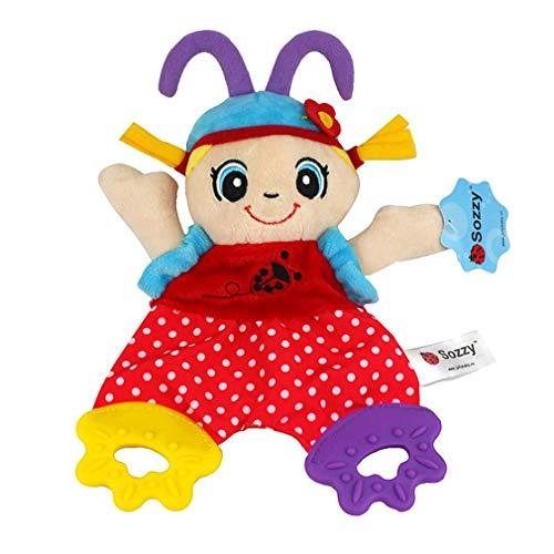 Muñeca de sonajero de gutapercha de Silicona, Juguete de Mano para niños, Juguete cómodo para Colgar de Felpa (león Multicolor)