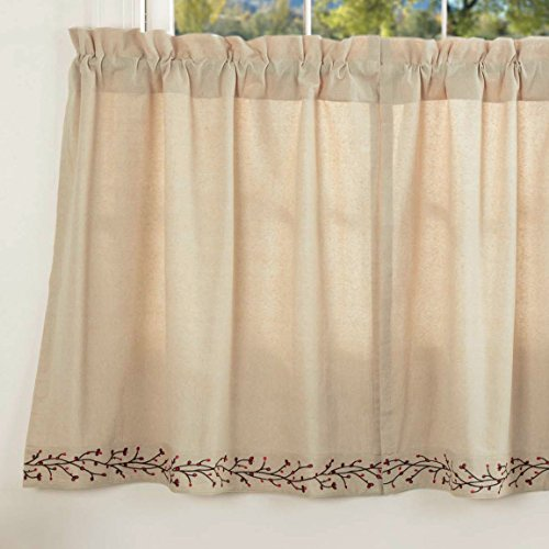 """Piper Classics Twig & Berry Vine Tier Curtains, 36"""" Long, Beige w/ Embroidered Berries, Farmhouse Country Primitive Café Curtains"""