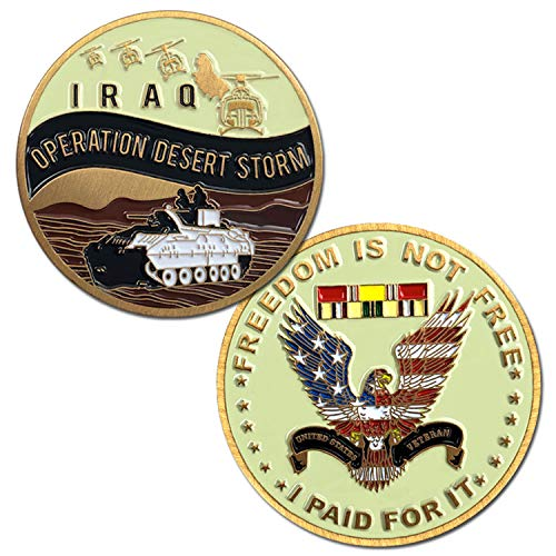 VetFriends.com Operation Desert Storm Challenge Coin with Tank, Helicopter, Service Ribbon, and Eagle Graphics