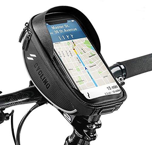 Hanchun Sacs de Montage de téléphone de vélo Sac de Guidon de vélo avec écran Tactile étanche Cas de Support de Telephone Sac de Rangement pour vélo pour téléphone Portable inférieur à 6,5 Pouces