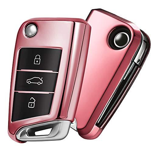 OATSBASF Autoschlüssel Hülle VW,VW Golf 7 Schlüsselbox,Schlüsselhülle Cover für VW Polo Skoda Seat 3-Tasten (Roségold)