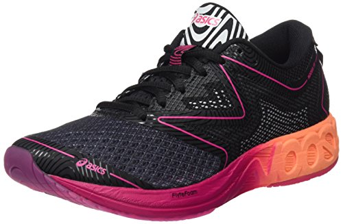 ASICS Damen Noosa FF Laufschuhe, Schwarz (Black/Hot Orange/Pink Peacock), 39 EU