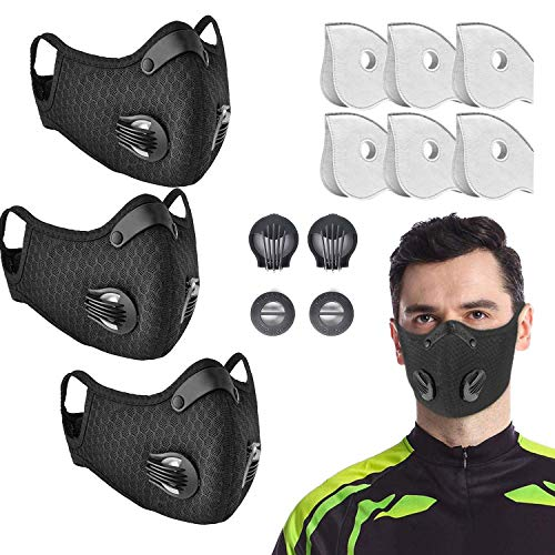 3 Pack Dust Mask by undwider, Prevent Saliva Safety Dust Mask with 6 filters and 2 Valves for Sports Outdoor Activities, Cycling, Motorcycle, Running (ZLD3M6-2-1)