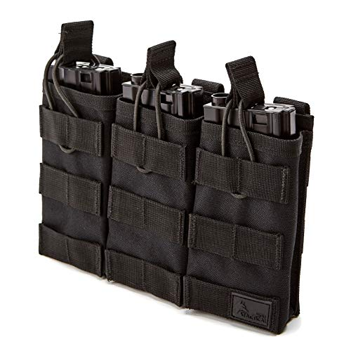 WOLF TACTICAL Triple Rifle Mag Pouch – Open Top MOLLE Pouch for M4, M16, AK, AR15 Magazines – Attaches to Combat Vests, Rifle Cases, Backpacks – Holds 3 Mags