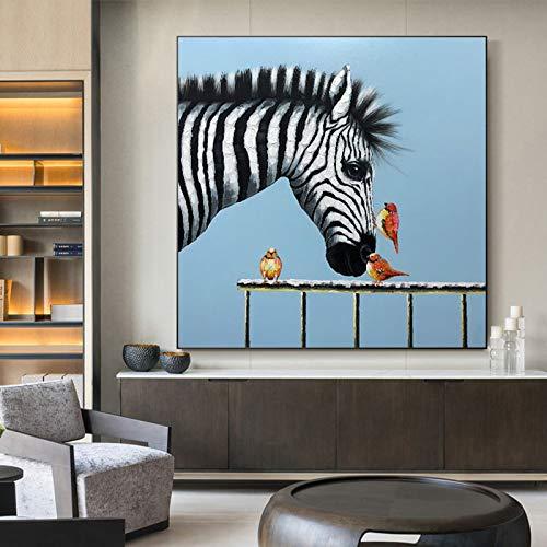 HUIJIE Pintada A Mano Pintura Al Óleo,Pintura Al Óleo De Pájaro De Caballo De Animal Abstracto Pintado A Mano En La Sala De Estar De Lana Sofá Decoración del Hogar Moderna Pared Arte Marco,50×50Cm (2