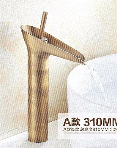 Moderne eenvoudige messing gebouwd gepolijst warm en koud bekken wastafel kraan badkamer wastafel kraan antieke Xiangxiang kunst bekken bijpassende imitatie hoofd oude bronzen wijn glas brons - korting winkel kraan A