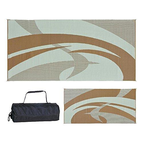REVERSIBLE MATS Outdoor Patio/RV Camping Mat - Swirl (Brown/Beige, 9-Feet x 18-Feet)