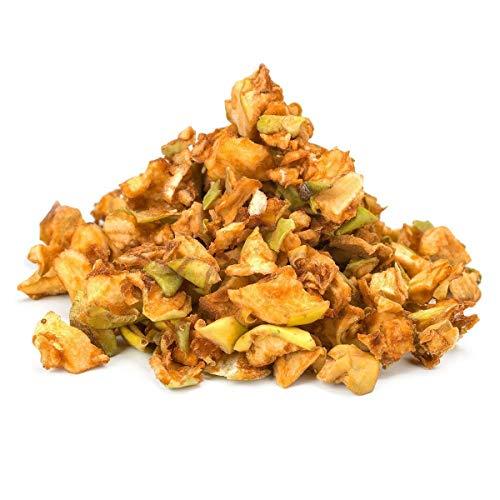 Bio ungeschälte Apfelwürfel Rohkost 1kg für Müsli und türkischer Apfeltee, Früchtetee, Fairtrade, Öko, Sonnen getrocknet, ohne Zusätze, 100% Äpfel Früchte, ungeschwefelt, ungesüßt 1000g