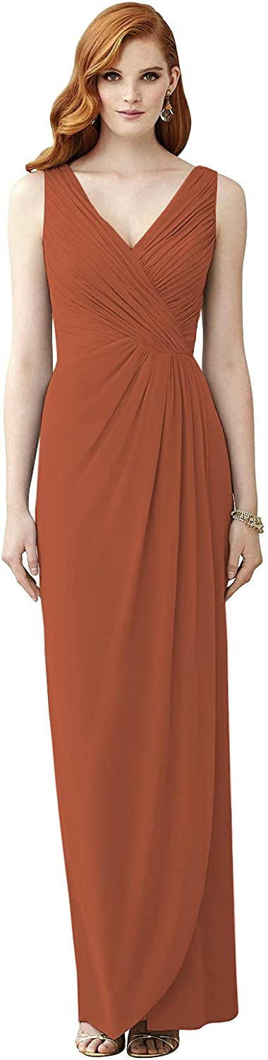 VCCICANY Women's Double V Neck A-Line Chiffon Bridesmaid Dress Long for Women Pleated Formal Gown