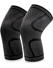 داعم الركبة، قطعتان من المشد الداعم للركبة المضاد للانزلاق والمرن ذو التهوية الجيدة من في اي بي فان، اسود (42-47)