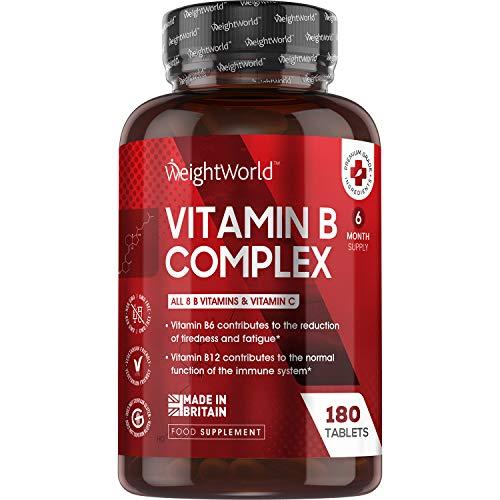 WeightWorld Vitamin B Komplex - 180 vegane Tabletten - 6 Monate Vorrat - Alle B Vitamine und Vitamin C - Natürliche und geprüfte Zutaten - Gut verträglich & bioverfügbar - 450µg B12 pro Tablette