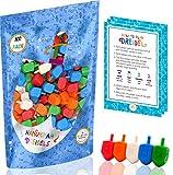 Hanukkah Dreidels 100 Bulk Pack Multi-Color Plastic Chanukah Draydels With English Transliteration - Includes 3 Dreidel Game Instruction Cards