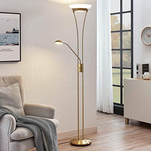 Lindby LED Stehlampe 'Amadou' dimmbar in Gold/Messing aus Metall u.a. für Wohnzimmer & Esszimmer (A+, inkl. Leuchtmittel) - Wohnzimmerlampe, Stehleuchte, Floor Lamp, Deckenfluter, Standleuchte