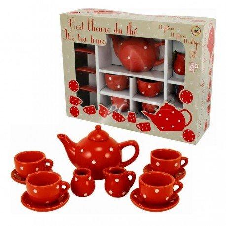 Ulysse Dînette en Porcelaine Grand Service de thé Rouge a Pois Blanc pour Enfant 3 Ans+