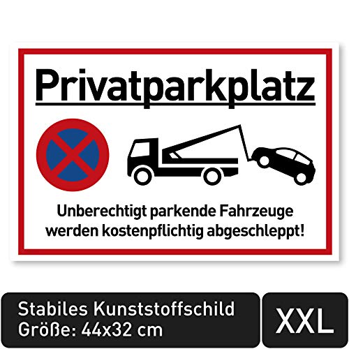 NEU XXL Privatparkplatz Schild Parken Verboten (44x32 cm Groß Kunststoff) - Fahrzeuge Werden kostenpflichtig abgeschleppt - Klares Zeichen für Parkverbot - Parkplatz Schilder Privatgrundstück