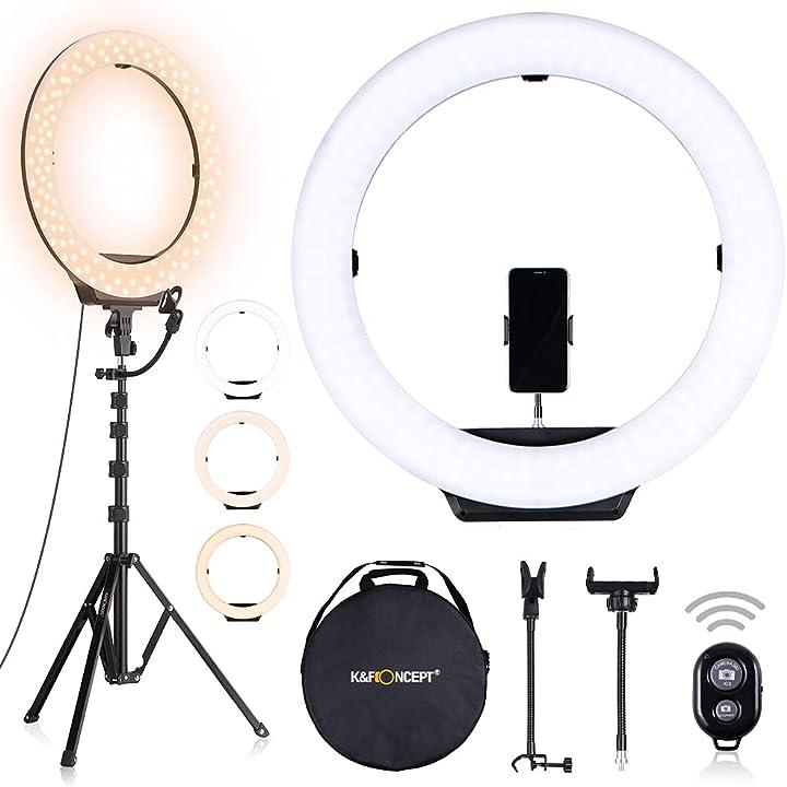 Luce ad anello 6500k, luce anello dimmerabile con treppiedi 230cm luce per smartphone k&f concept 18 pollici KF34.023