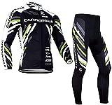 Abbigliamento Ciclismo da Uomo, Inverno Termico Vello Completo Giacca +5d Gel Pad Pantaloni Lunghi da Bicicletta (Verde, L)