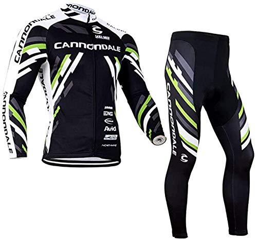 Abbigliamento Ciclismo da Uomo, Inverno Termico Vello Completo Giacca +5d Gel Pad Pantaloni Lunghi da Bicicletta (Verde, 3XL)