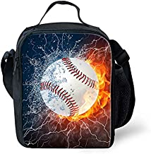 INSTANTARTS Thermal Insulated Lunch Box Tote Bag Baseball Ball Men Kid Boy Lunchbox