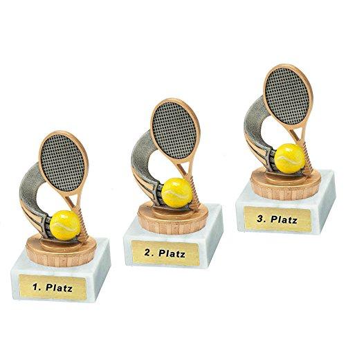 RaRu 3 Tennis-Pokale mit Wunschgravur und Resin-Klebefigur