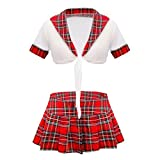 HotTouch Women's Cotton Front Tie Knot Blouse Sexy School Girl Sexy Honeymoon Babydoll