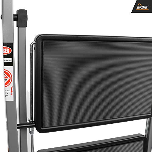 EFINE 4 Step Ladder, Slim Folding Design Step Stool, High Grade Steel with Smooth Powder Coating, Sturdy and Lightwight, Holding up to 330lbs. (Gray)