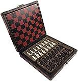 AYCPG Ajedrez Juego de Mesa de Madera Mesa de Centro Internacional de Ajedrez Antiguo Mini ajedrez Tablero de ajedrez Kit Retro Estilo Realista lucar