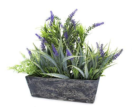 DARO DEKO Kunst-Pflanze Lavendel mit länglicher Schale 40 x 34cm 1 Stück